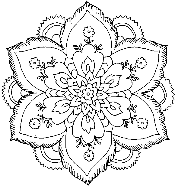 Hard Flower Coloring Pages For Teenagers 01