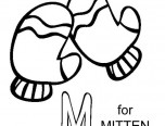 m is for mitten coloring page