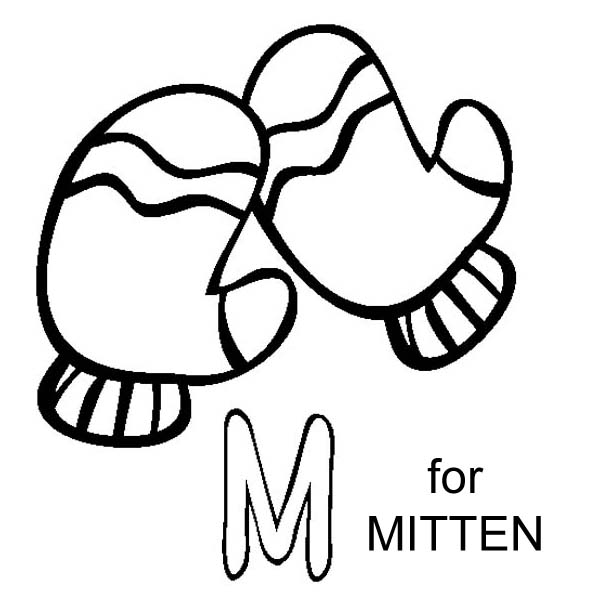 M Is For Mitten Coloring Page 01