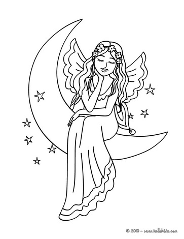Moon Fairy Coloring Pages 01