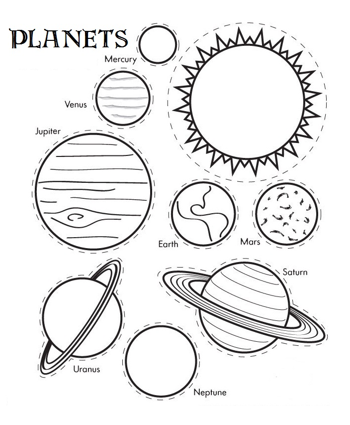 planets colouring page printable