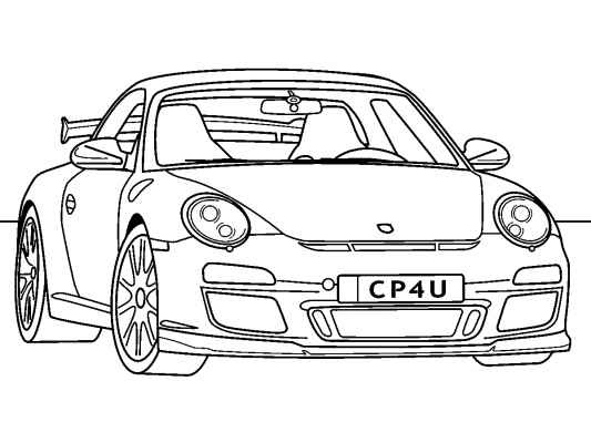 free coloring pages of how to draw a porsche gt3