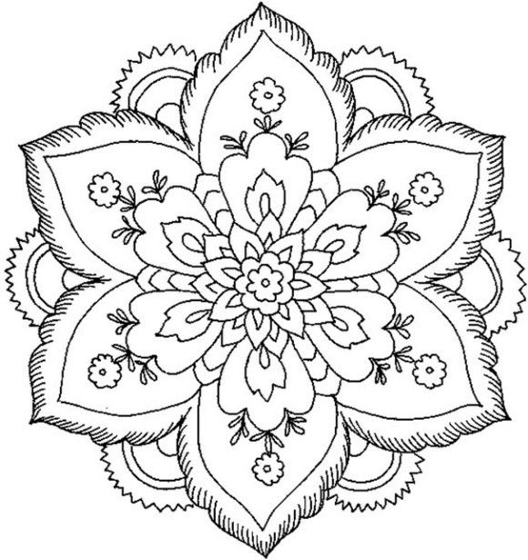 Simple Mandala Flower Coloring Pages 01