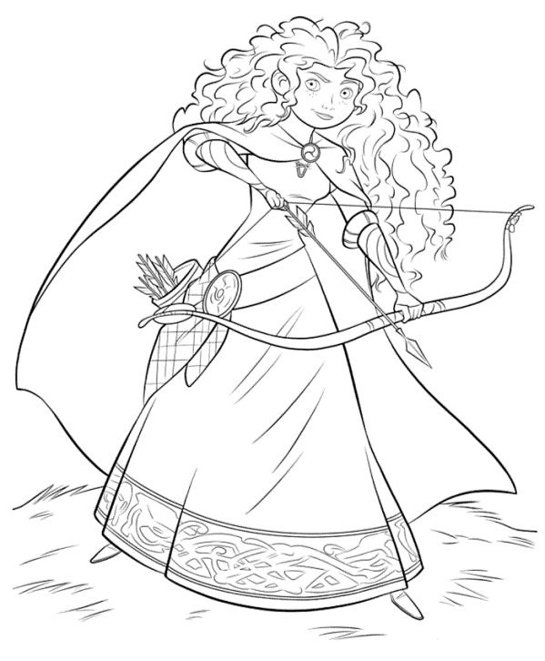 Sketched Coloring Pic Of Merida 01