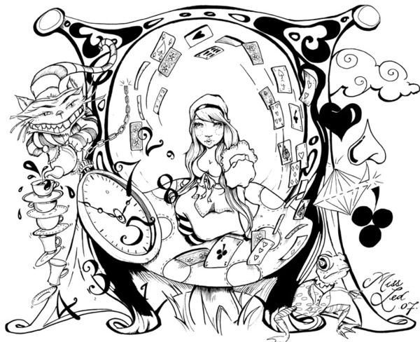 trippy alice in wonderland coloring pages 01