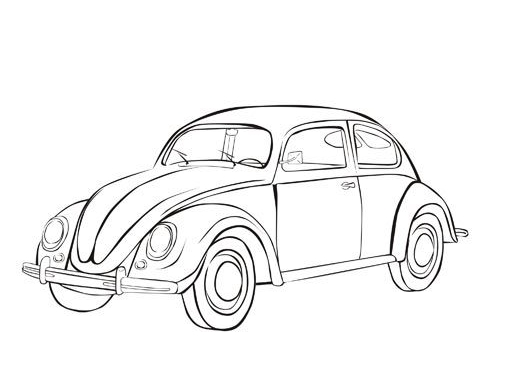 car coloring page volkswagen beetle pages vw sketch