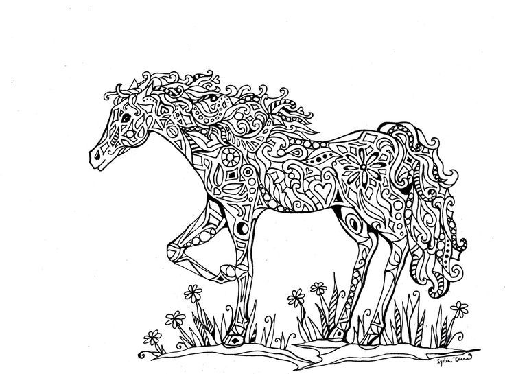 Zentangle Horse Coloring Pages Abstract 01