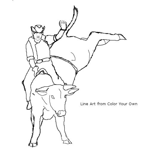 bull riding coloring pages | Only Coloring Pages