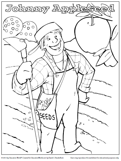 coloring page johnny appleseed 01
