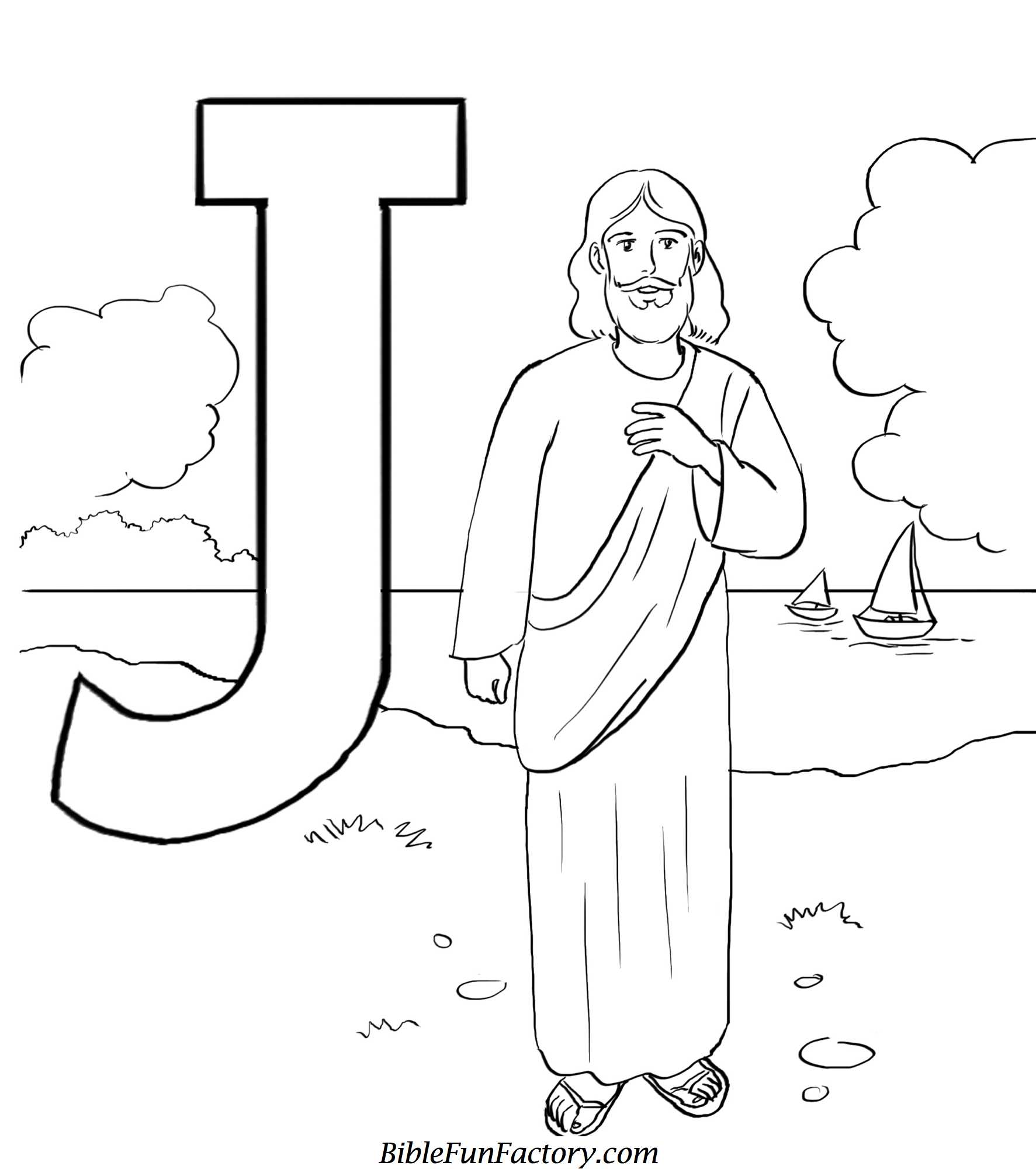 j for jesus coloring page 01
