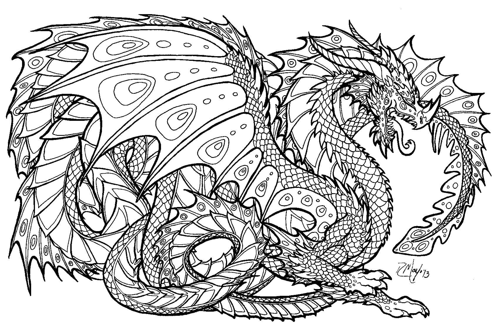 Realistic Dragon Coloring Pages For Adults 01