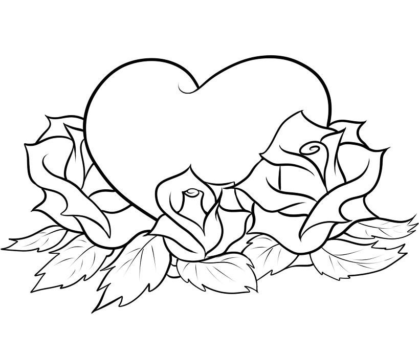 Roses Heart Coloring Page 01
