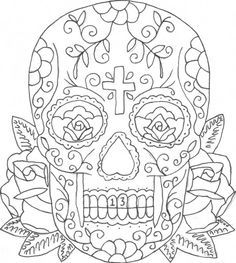 sugar skulls and roses coloring pages 01
