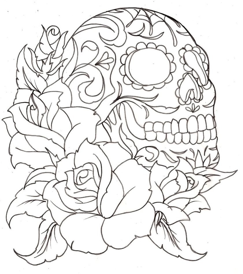 sugar skulls and roses coloring pages