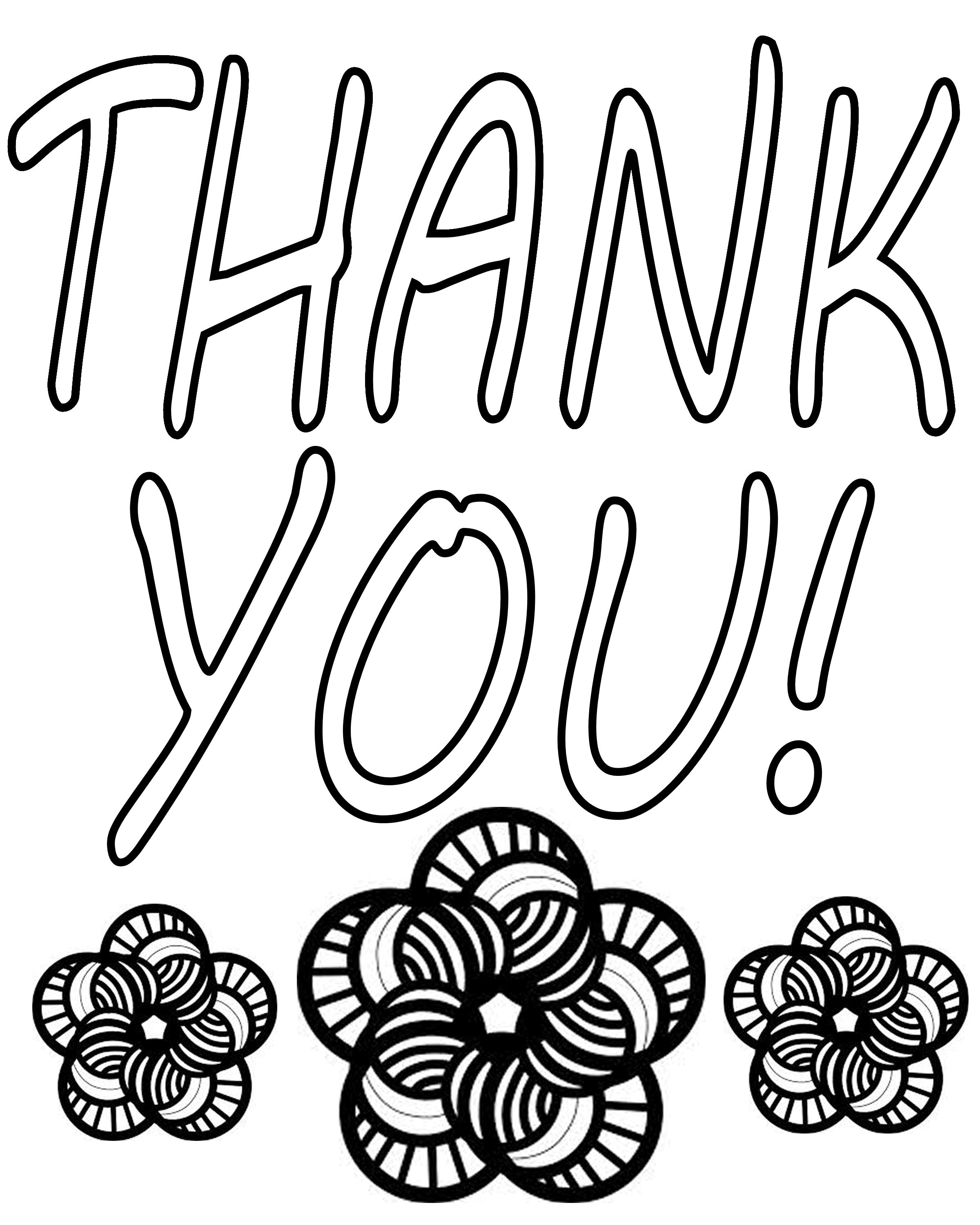 coloring pages thank you card - photo#34