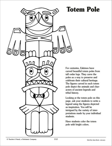totem pole animal coloring pages - totem pole printables only coloring pages