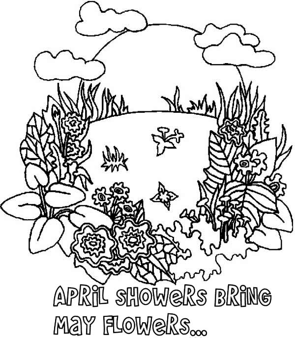 April Coloring Pages For Adults : April showers coloring pages only