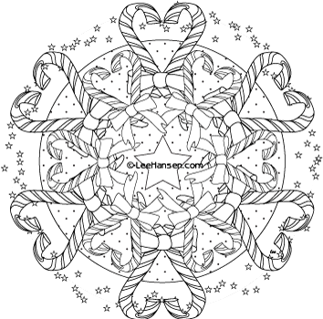 Christmas Candy Cane Mandala Colouring Page 01