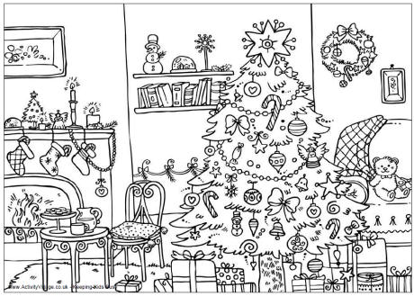 christmas coloring pages room picture 01