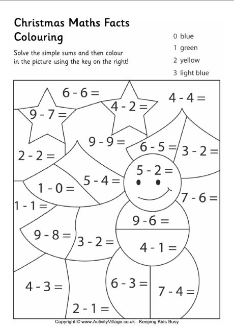 christmas maths colouring 01