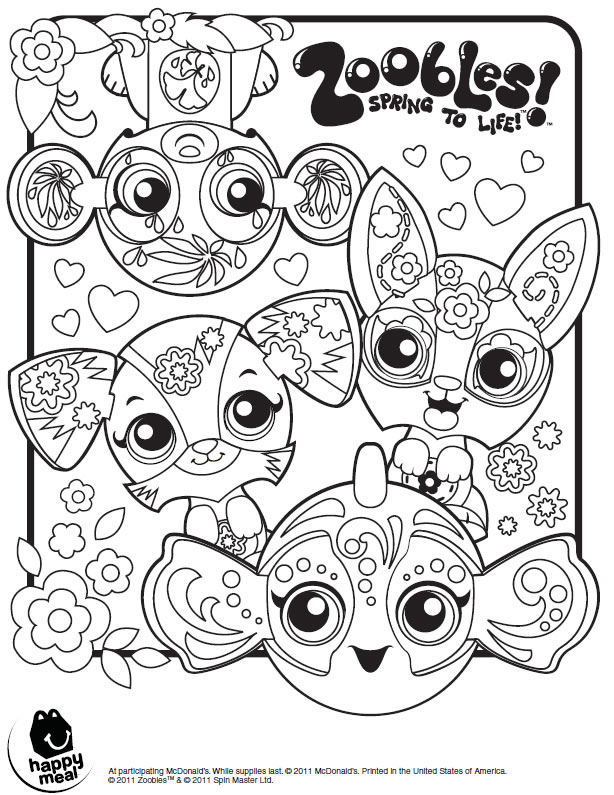 Coloring Pages Zoobles 01