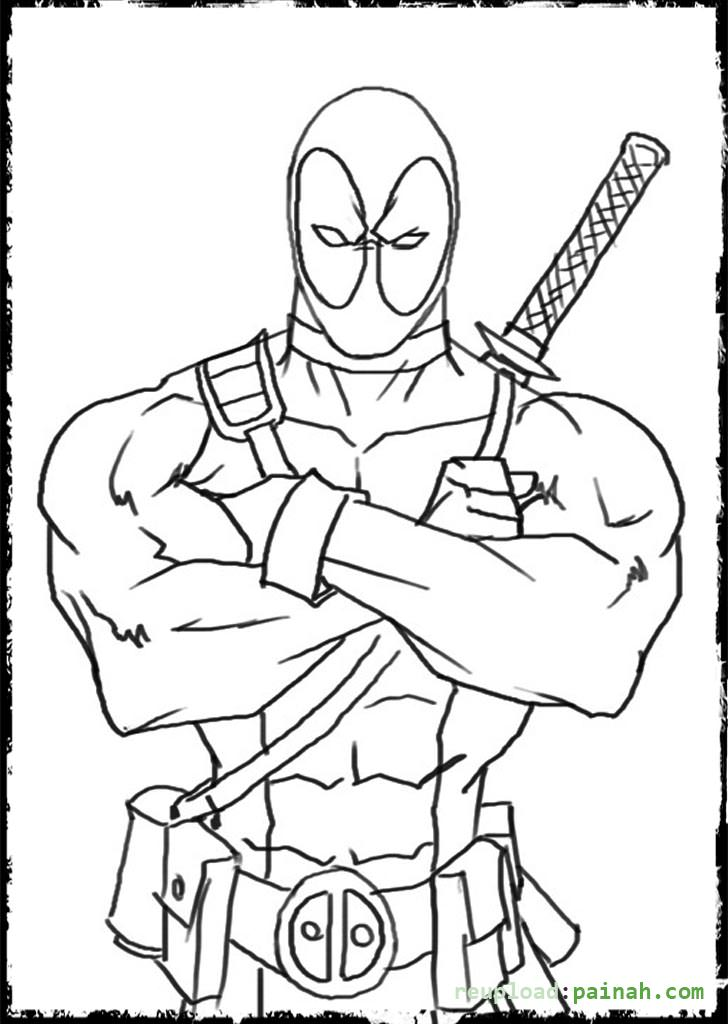 Simple Dead Pool Coloring Pages Coloring Pages Of Deadpool