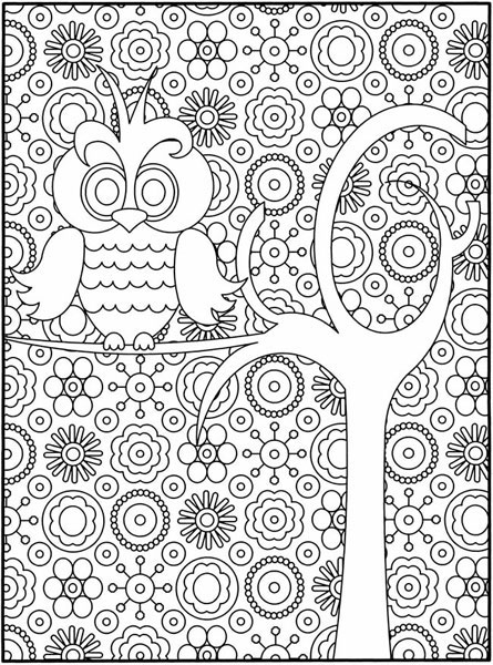 difficult owl coloring page for adults 01