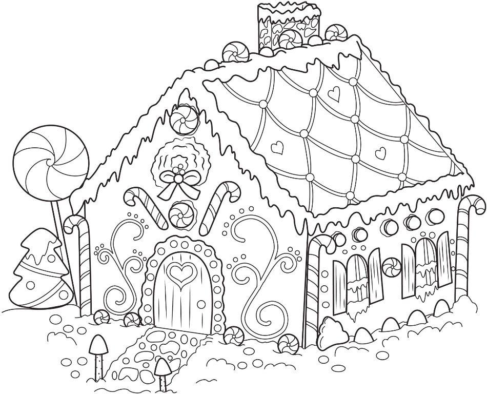 gingerbread house candy coloring pages - photo#17
