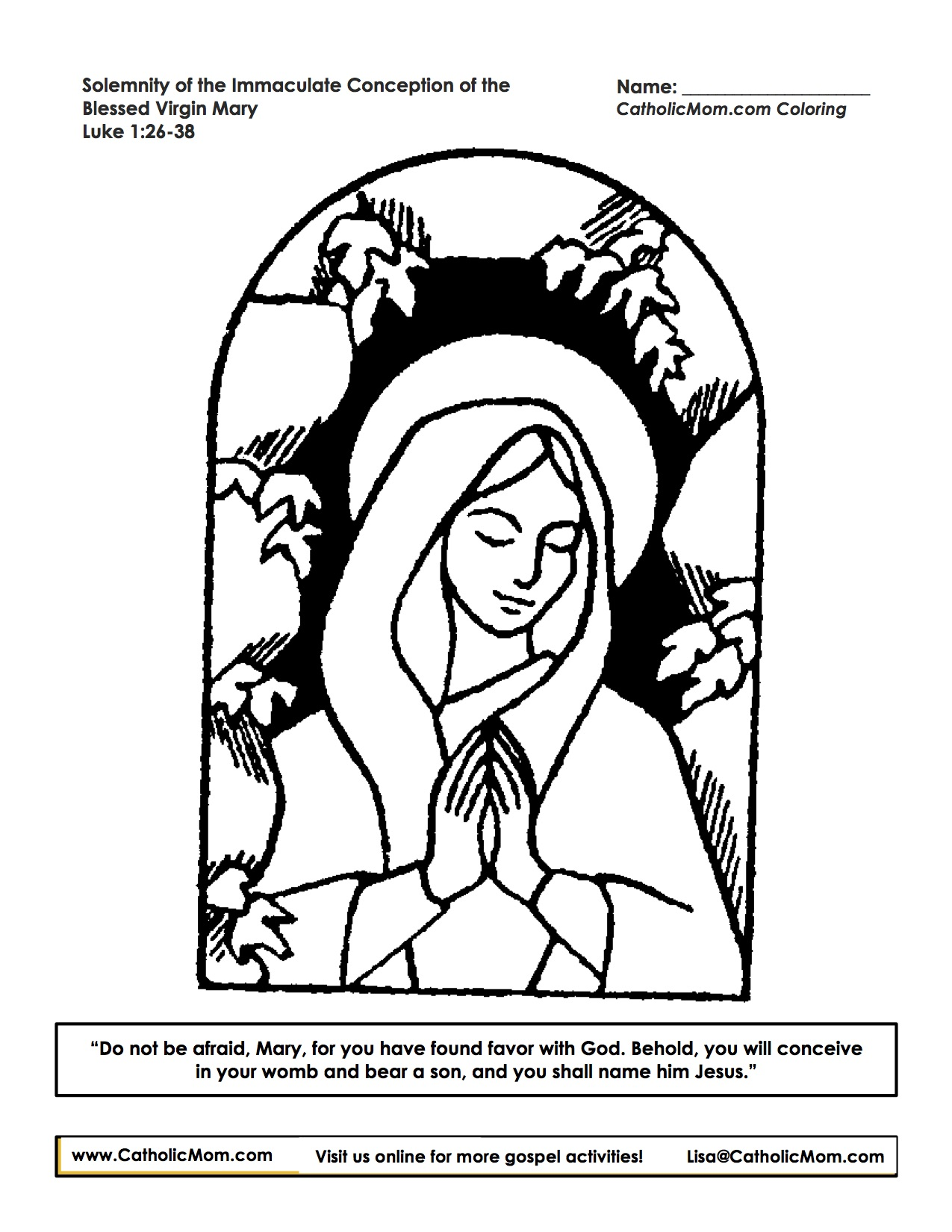immaculate conception coloring page
