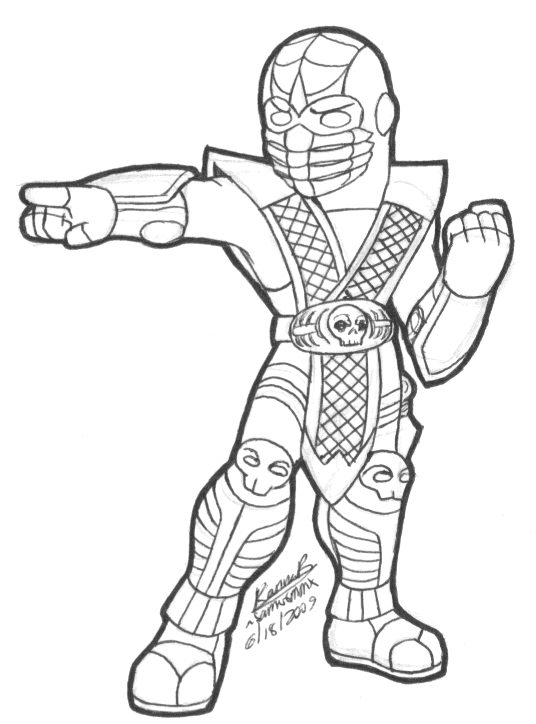 Mortal kombat coloring pages only coloring pages for Scorpion coloring page