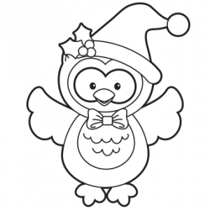 Owl coloring page holiday for adults