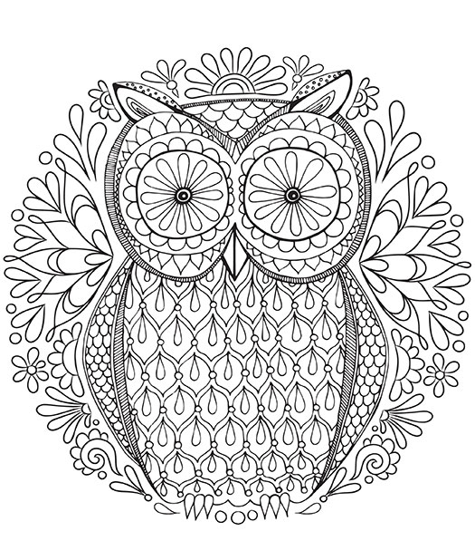 owl coloring pages mandala for adults 01