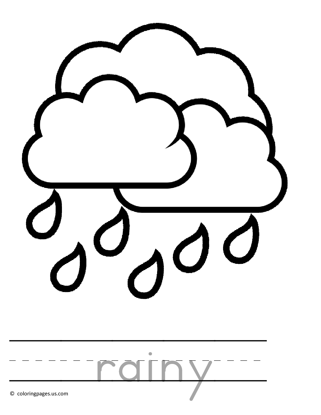 raining preschool coloring pages
