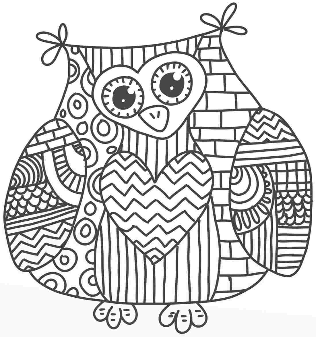 too hard owl coloring page 01