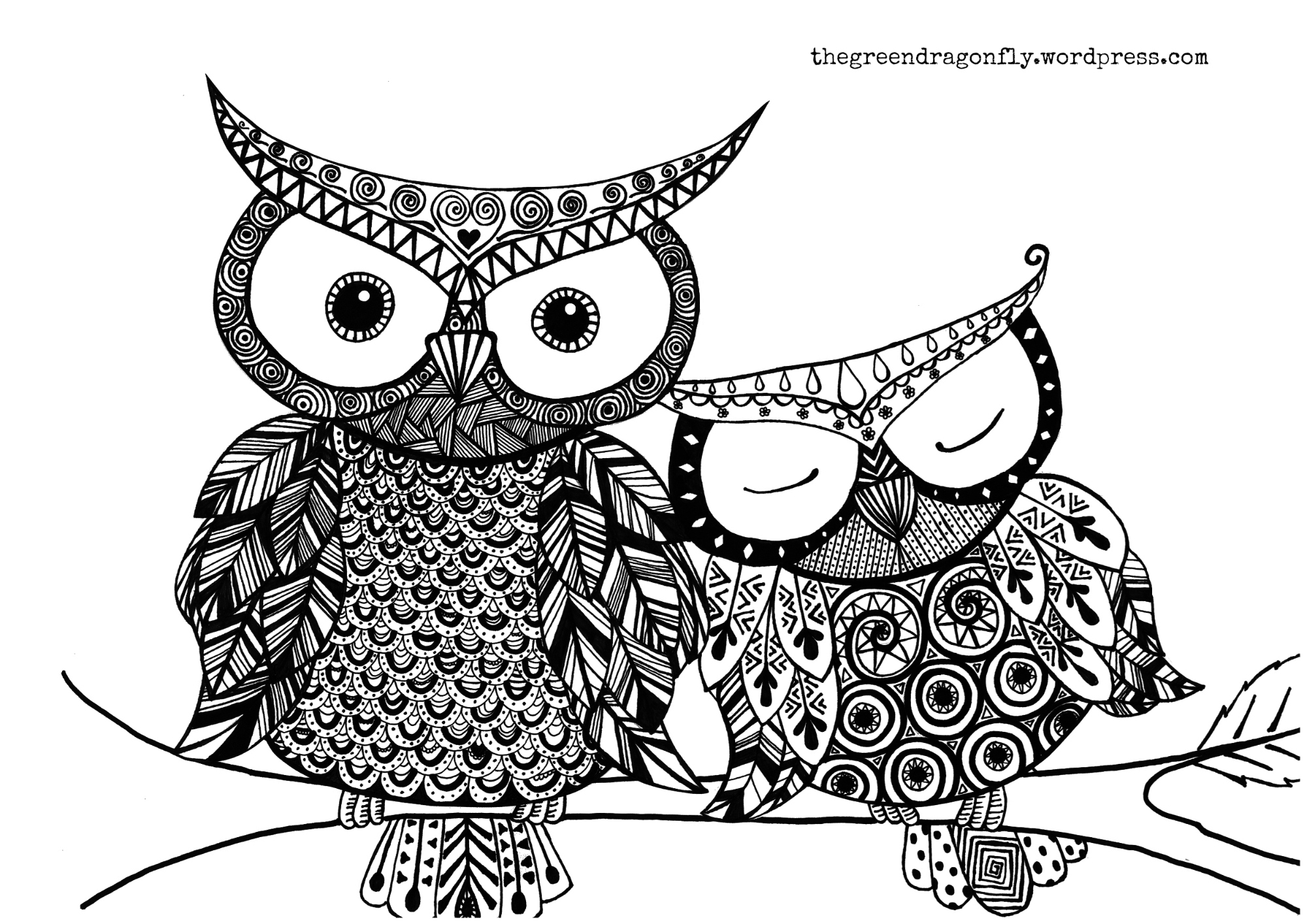 Two Owl Coloring Page For Kids 01