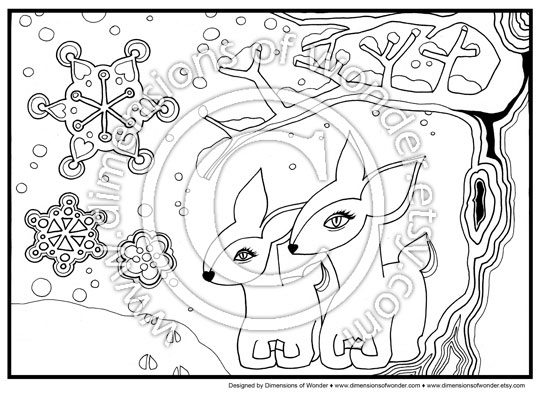winter christmas coloring pages