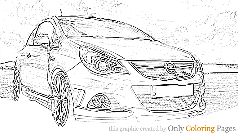 Opel Corsa Opc Coloring Page
