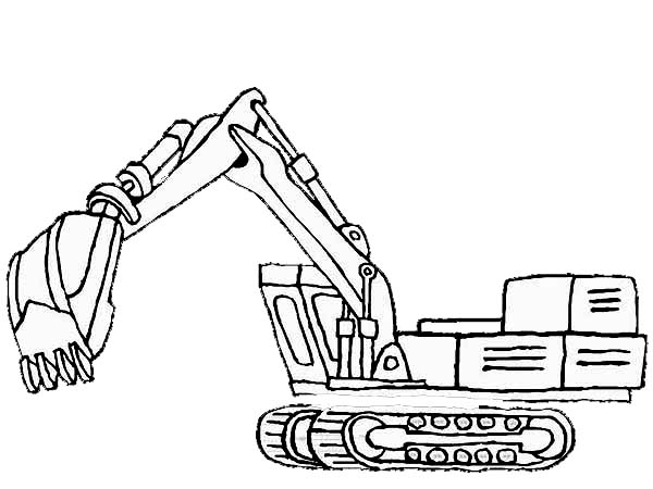 Excavator Coloring Page 01