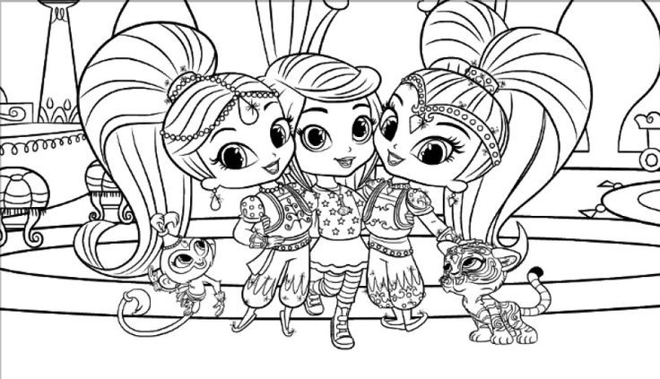 Shimmer And Shine Coloring Pages Pdf : Shimmer and shine coloring pages only