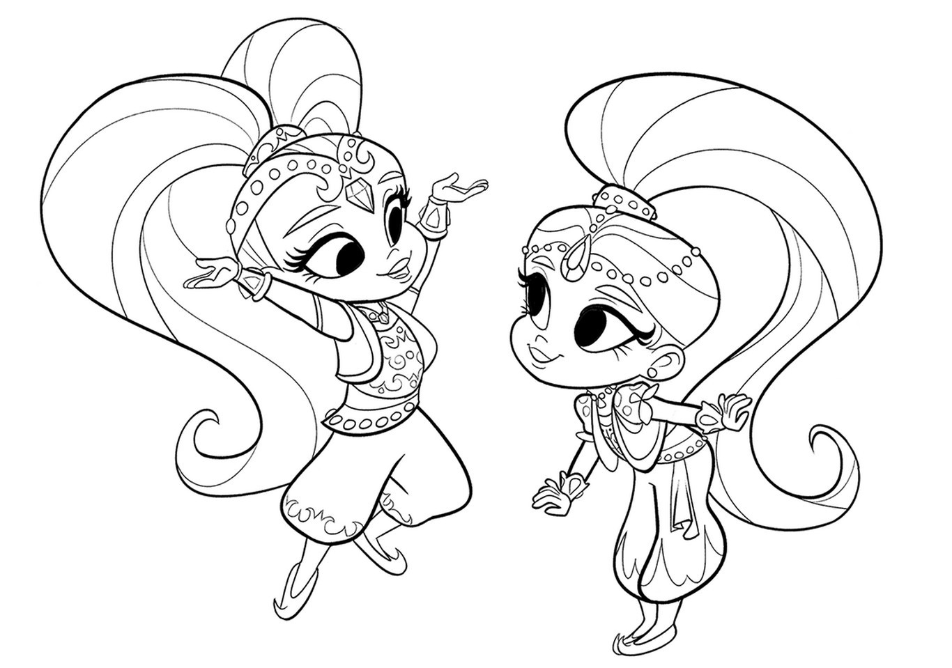 image regarding Shimmer and Shine Coloring Pages Printable titled Shimmer and Glow Coloring Web pages
