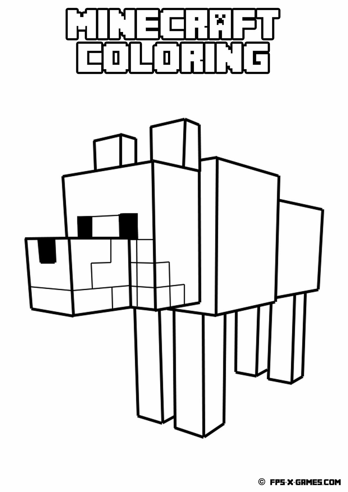 Minecraft Colouring Pages Online : Minecraft wolf coloring pages only