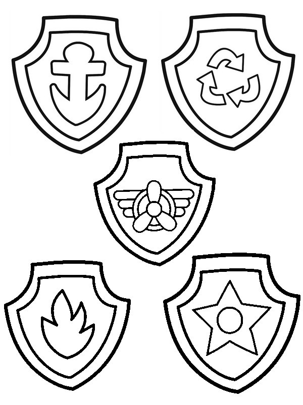 Paw Patrol Badges Coloring Pages 01