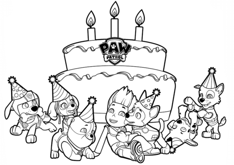 Paw Patrol Birthday Coloring Pages