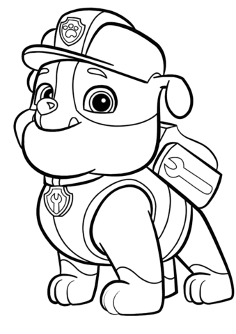 Paw Patrol Rubble Coloring Pages