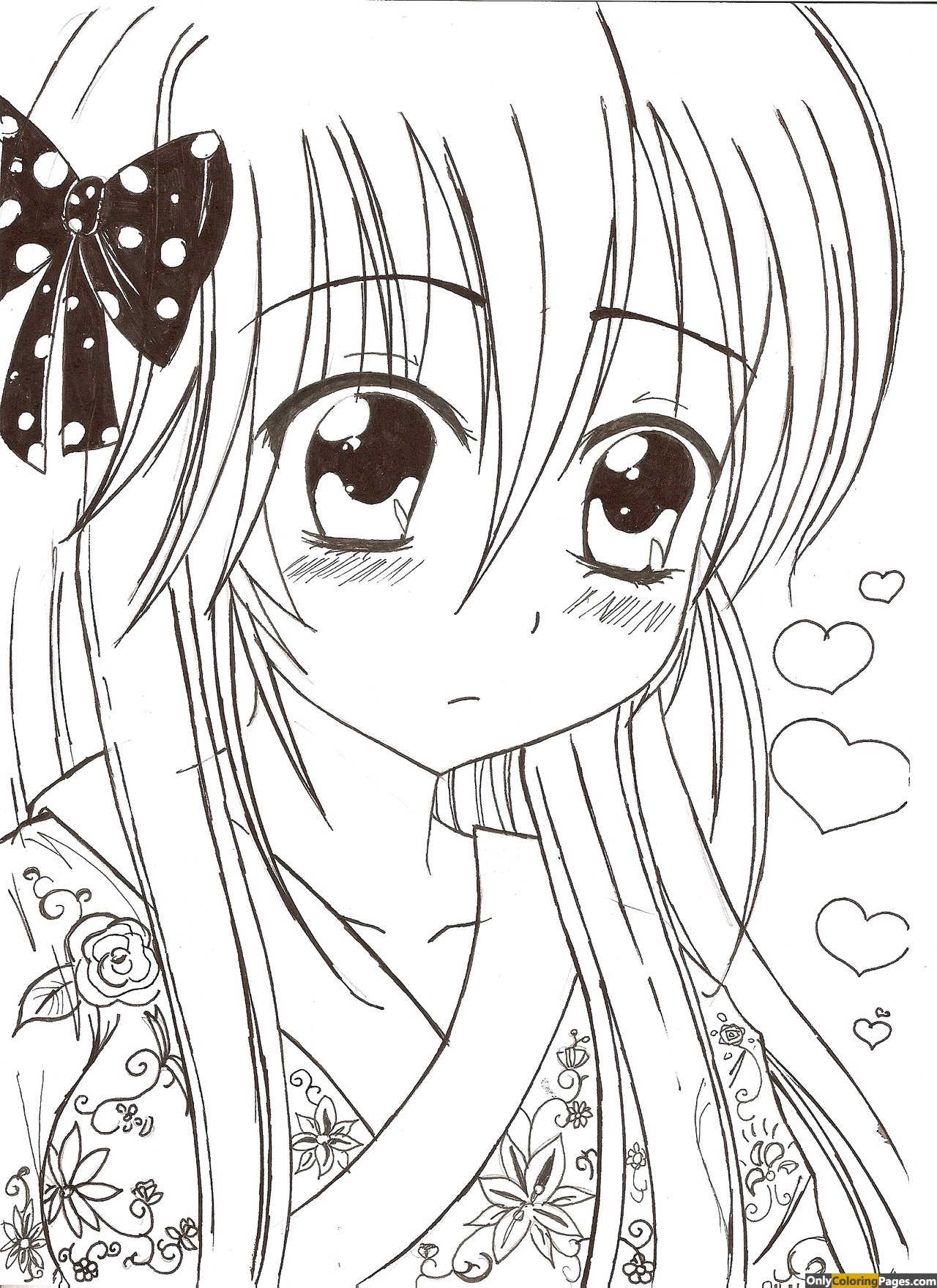 kawaii anime coloring pages