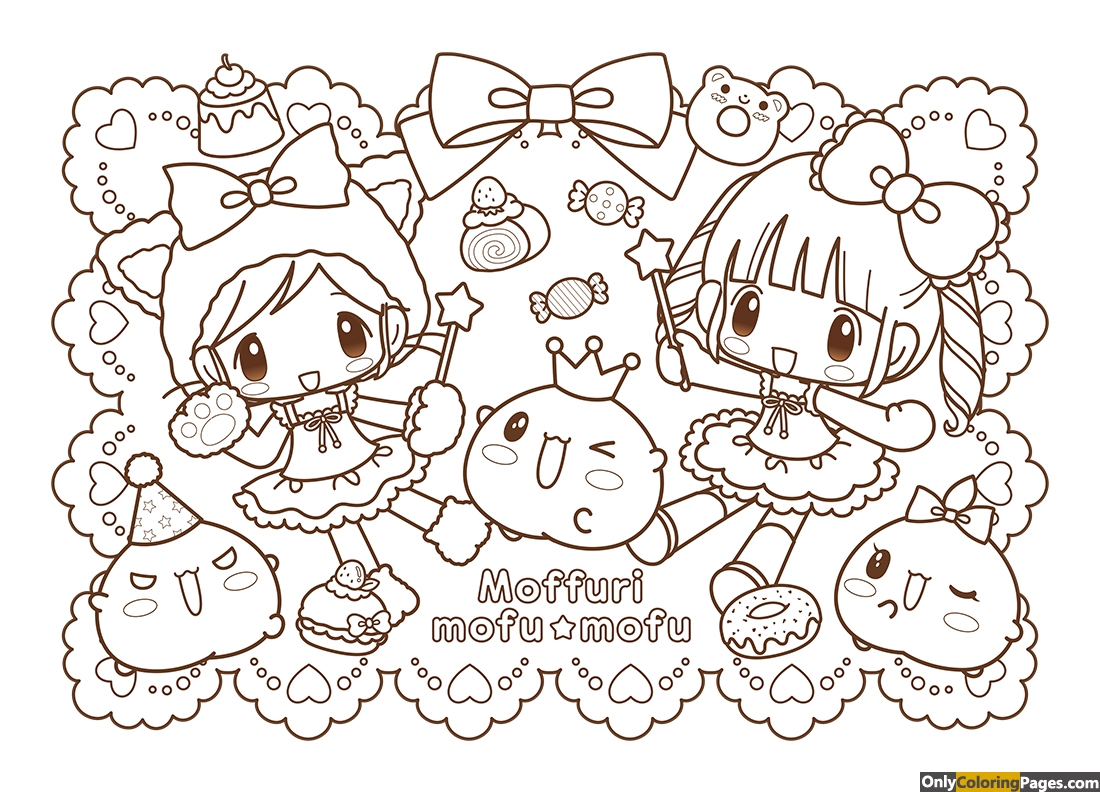 kawaii japanese coloring pages