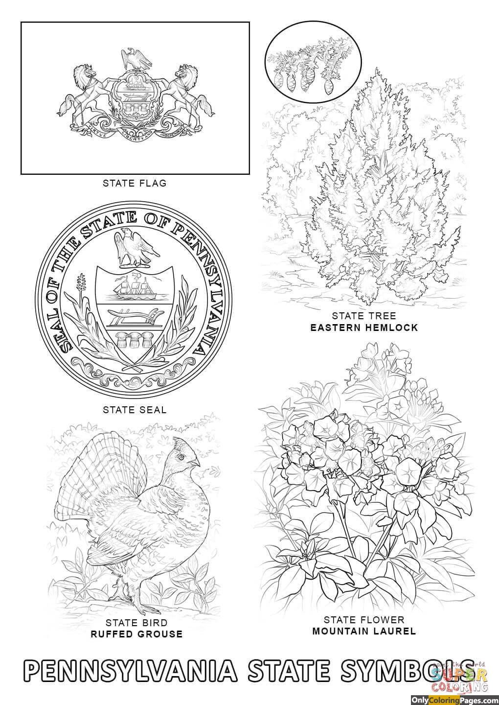 pa-state-symbols-coloring-pages