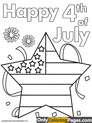 4th of july star coloring pages