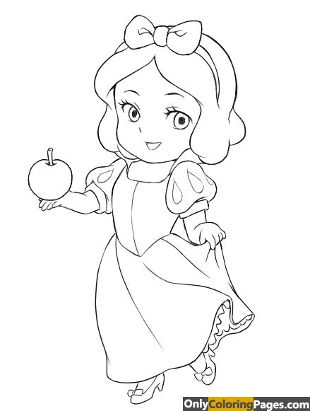 baby snow white coloring pages