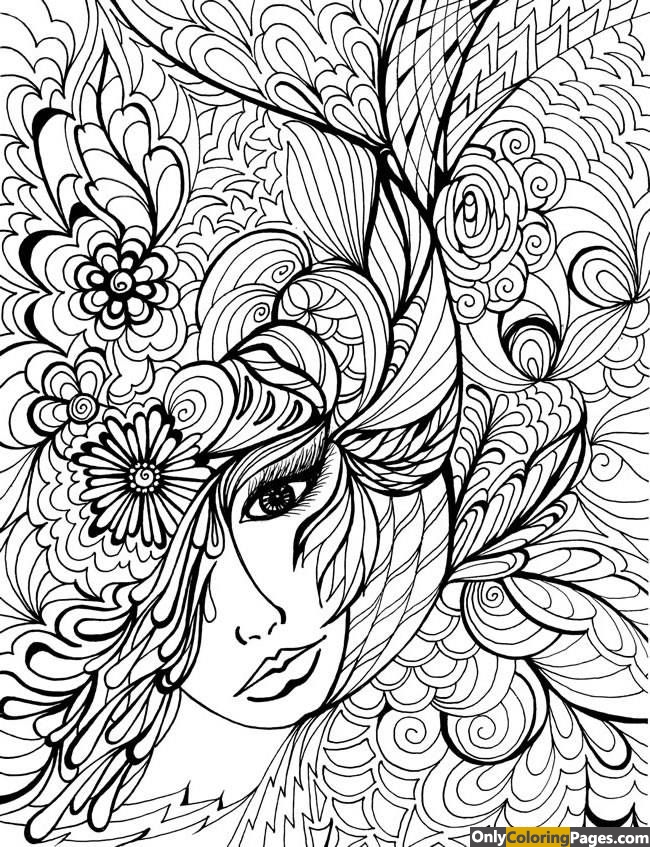 face coloring pages adults - photo#7